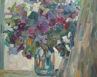 Original Flowers painting, Oil painting, Lilac painting, Floral art, Impressionism, Bouquet painting, Large painting