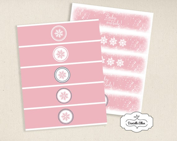 28a028970d09 Pink Winter Snowflake Water Bottle Labels   Napkin Rings   Holders ...