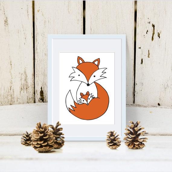woodland animal home decor fox and baby woodland animal creatures print for nursery room  fox and baby woodland animal creatures
