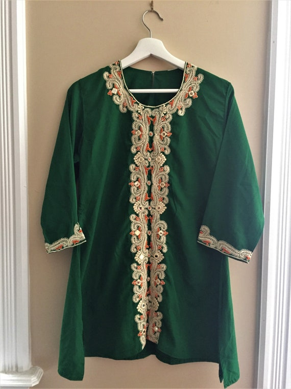 Vintage Silky Embroidered Tunic - Women's Indian E
