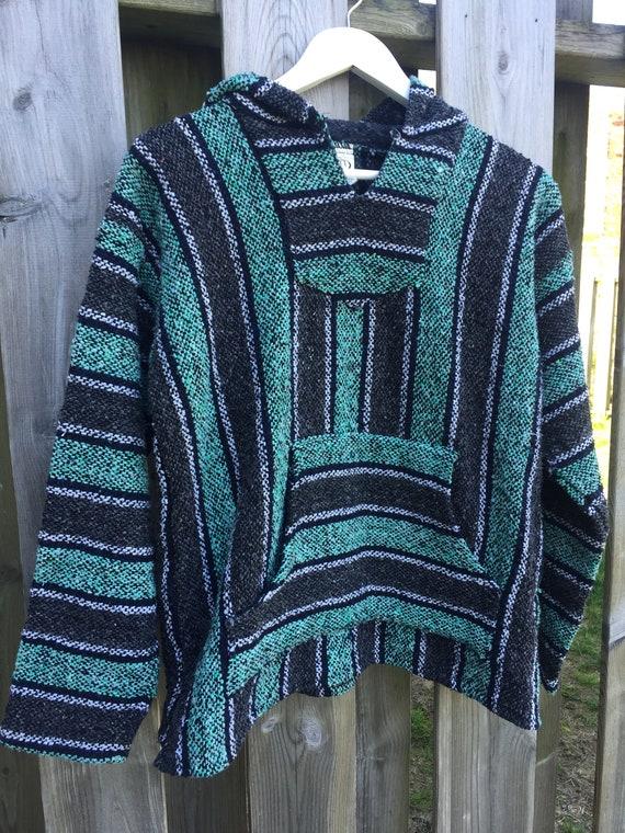Vintage Baja Hoodie Mexican Woven Blanket Jacket -