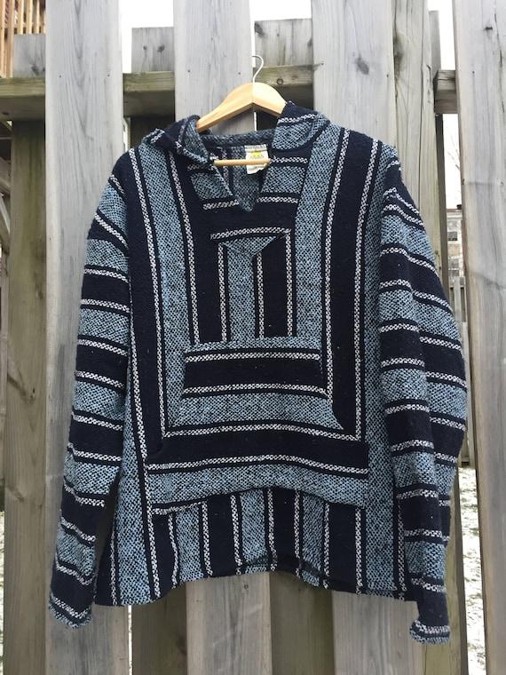 Vintage Baja Hoodie - Mexican Woven Blanket Jacket