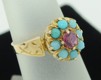 Antique (ca. 1900) 18K Yellow Gold Ruby and Turquoise Ring (Size 4)
