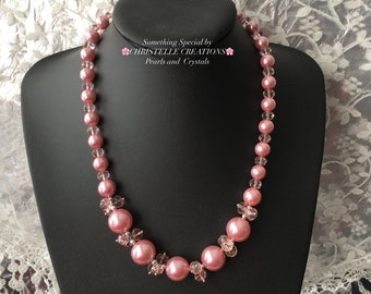 Rose Pink Crystals And Pearl Necklace . Summer Pink Pearl Necklace Rose Pink Sparkling Necklace Vintage Style Pink Pearl Necklace