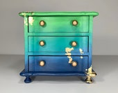 Blue, Green, Teal and Gold Hand Painted Ombre Finish Vintage Wood Music Jewelry Box, Gift for Her, Mermaid Inspired, Room Decor, OOAK