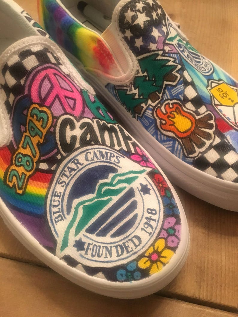 Overnight sleepaway camp custom sneakers for Blue star camp