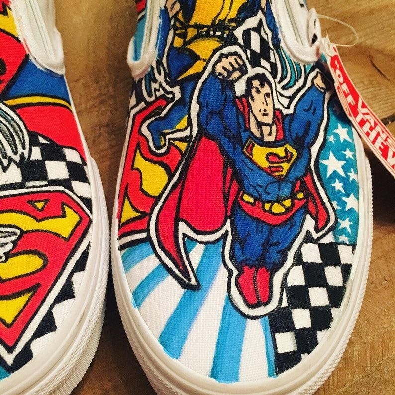 8a562f40d8 Mens Super hero Superman Wolverine custom sneakers