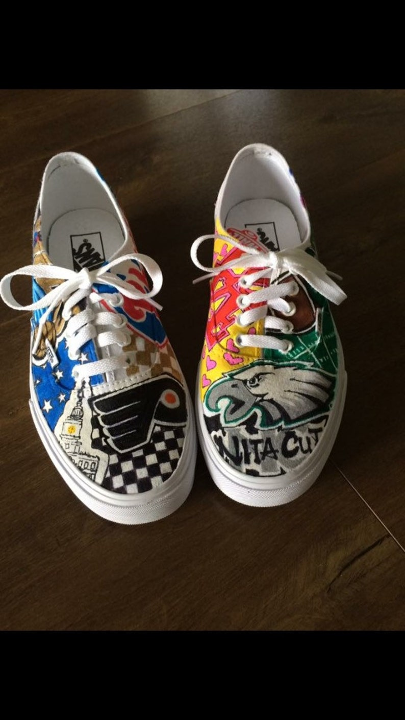 673f4b657565 Philly sports hand painted vans