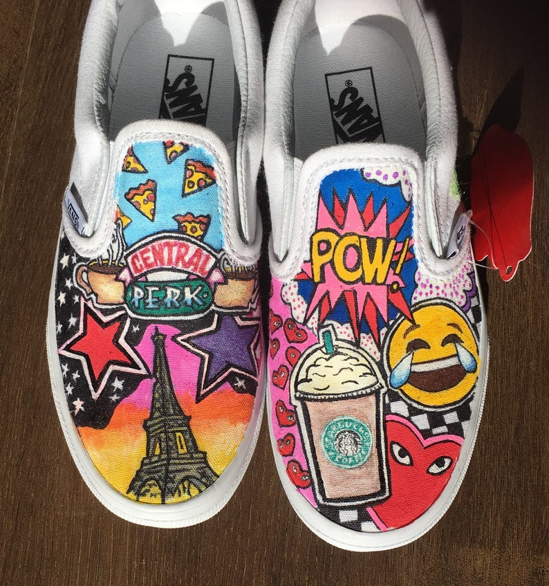 56627bd3a2f96 Girls custom vans sneakers. New York, Eiffel Tower, Starbucks, emoji,  unicorn custom vans.