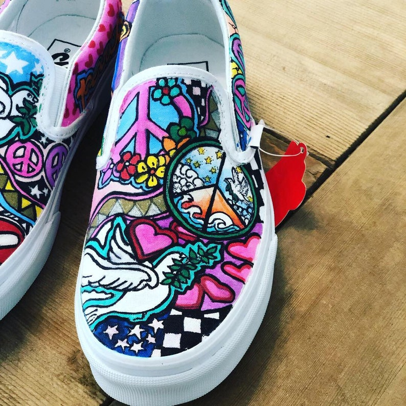 cf8de69b6f479 Peace, love, yoga, music inspired custom hand drawn, hand painted slip on  Vans sneakers Lets create your own unique pair!