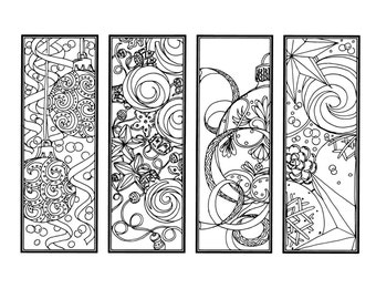 diy christmas ornament bookmarks holiday crafts color your own bookmarks instant download christmas coloring adult coloring page 6