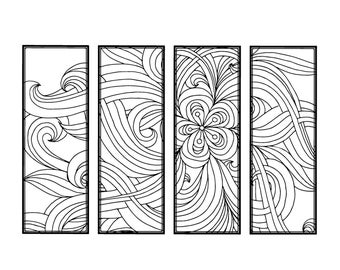 DIY Bookmarks Printable Coloring Page Adult Pages Instant Download Gifts For Bookworm ZenDoodle Bookmark Floral 20