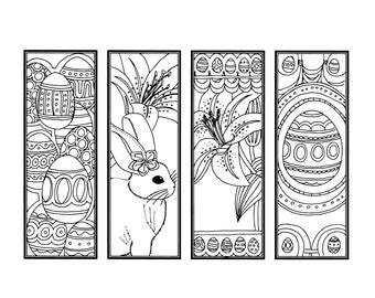 DIY Easter Bookmarks Printable Coloring Page Adult Pages Instant Download Gifts For Bookworms ZenDoodle Eggs Bunny Lily 16