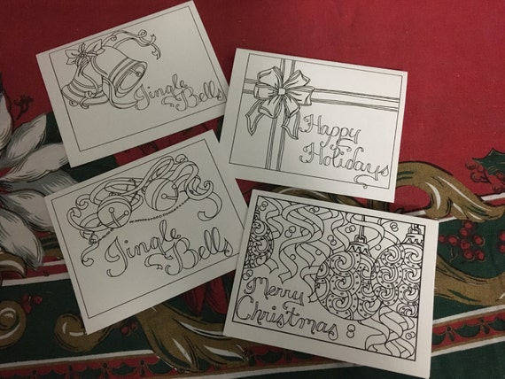 Printing Your Own Christmas Cards.Color Your Own Christmas Cards Set Of Four Instant Download Holiday Crafts Creative Cards Holiday Cards Adult Coloring Page Diy