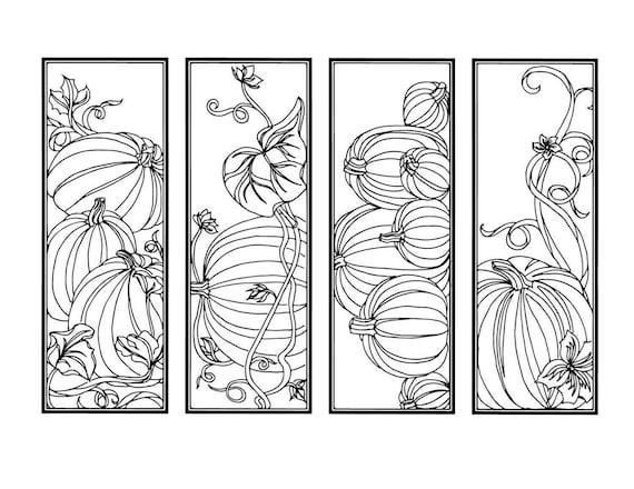 DIY Pumpkin Bookmarks Set of 4 Holiday Crafts Color Your