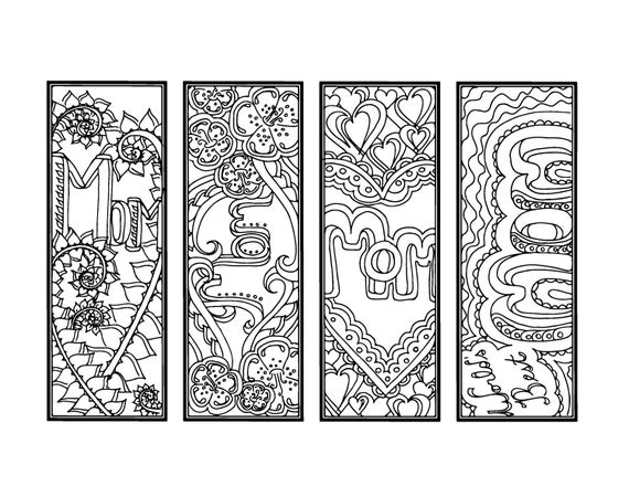 DIY Mother 39 s Day Bookmarks Printable Coloring Page Adult