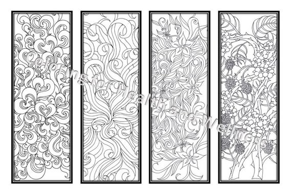 DIY Bookmarks Printable Coloring Page Adult Coloring Pages | Etsy
