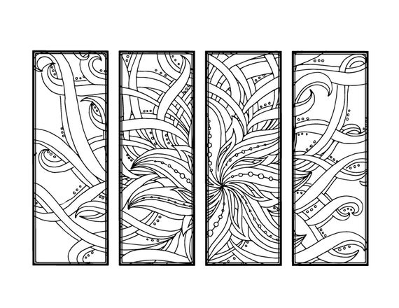DIY Bookmarks Printable Coloring Page Adult Coloring Page | Etsy