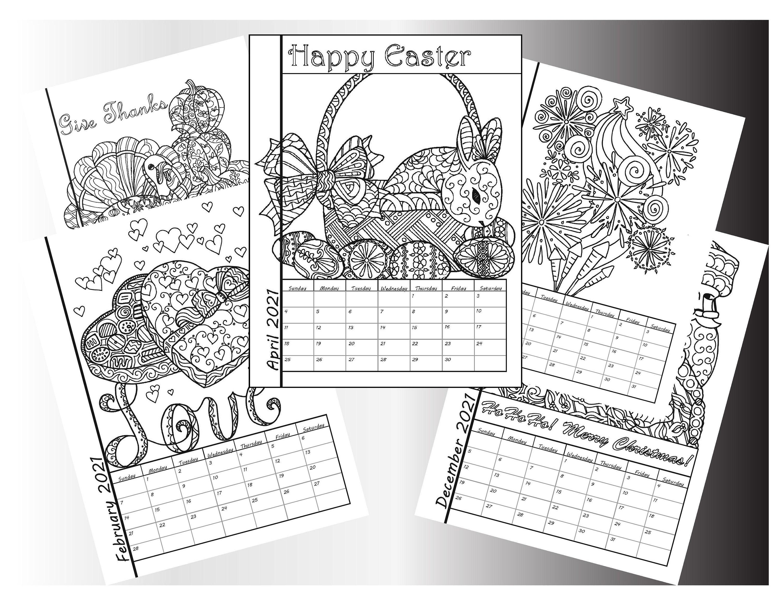 2021 Coloring Wall Calendar-DIY 2021 Calendar-Instant   Etsy