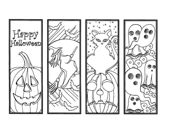 Diy Halloween Bookmarks Holiday Crafts Color Your Own Etsy