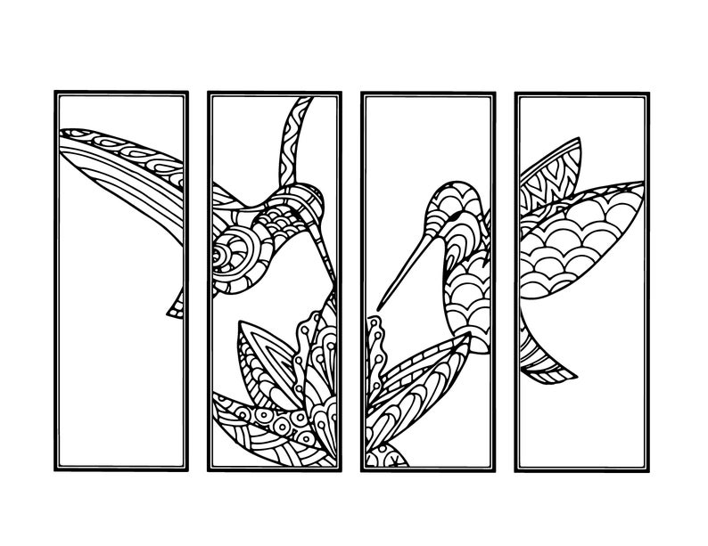Humming Bird Diy Bookmarksset Of 4 Printable Coloring Page Etsyrhetsy: Coloring Sheets For Bird Watching At Baymontmadison.com