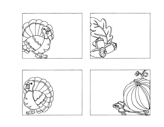 Ähnliche Artikel wie DIY Thanksgiving Place Cards- Color Your Own ...