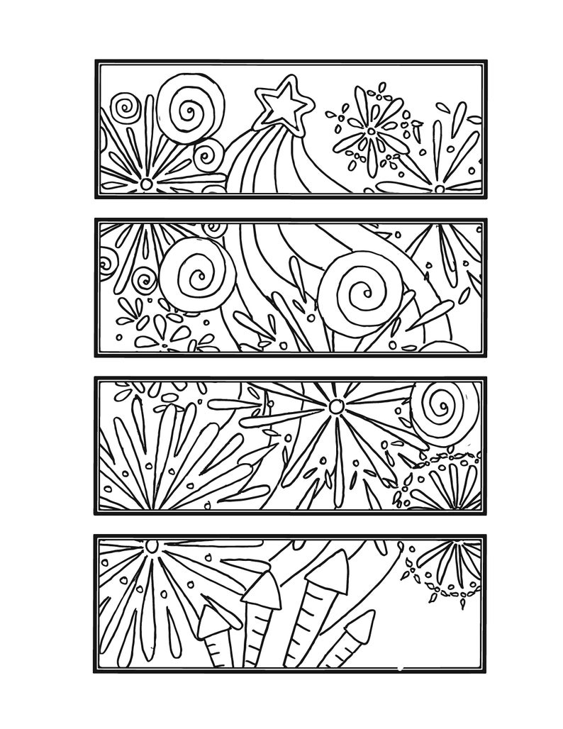Diy 4th Of July Bookmark Set Of 4 Independence Day Printable Coloring Page Adult Coloring Page Instant Download Fireworks Zendoodle