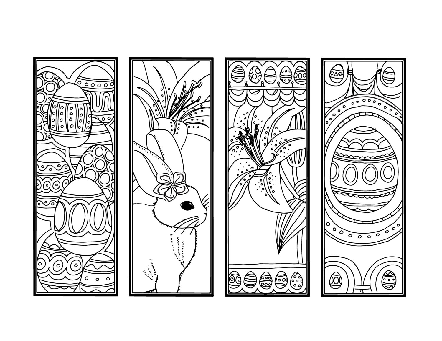 DIY Easter Bookmarks Printable Coloring Page Adult Coloring