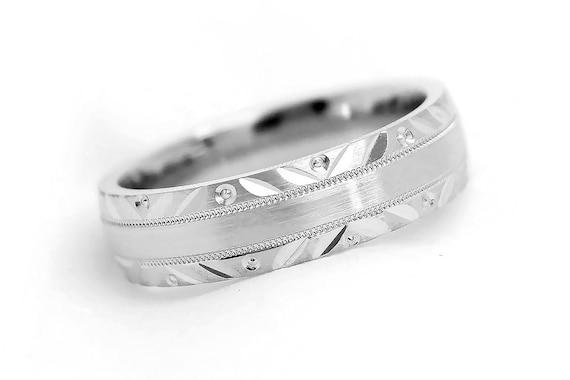 925 Sterling Silver Wedding Ring 6mm 925 Sterling Silver Filigree Wedding Band Free Shipping. Free Engraving Men Wedding Ring