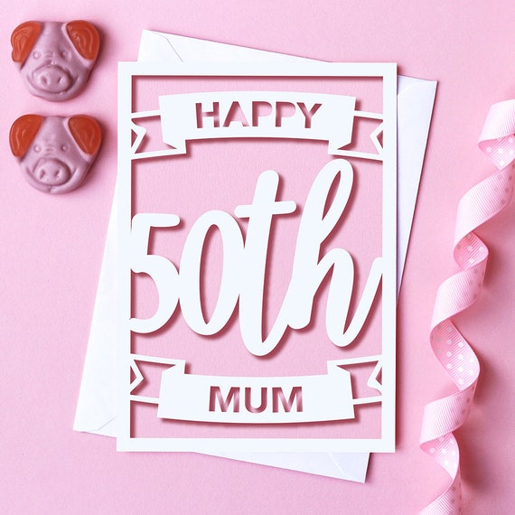 Happy 50th Mum Birthday Card Mum 50th Birthday Card Etsy