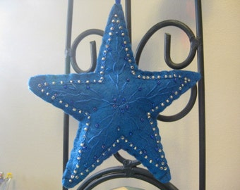 Royal Blue Beaded Felt Star Christmas Ornament