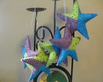 Patchwork Beaded Felt Christmas Star Ornaments - Set of 6