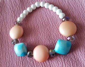 Peach and Turquoise Beaded Bracelet/ Seabreeze Charm