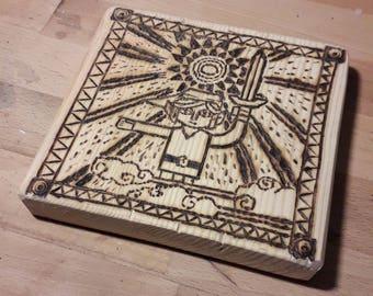 The legend of Zelda prophecy pyrograved