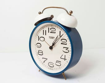 Blessing Alarm blue and white 60s alarm clock