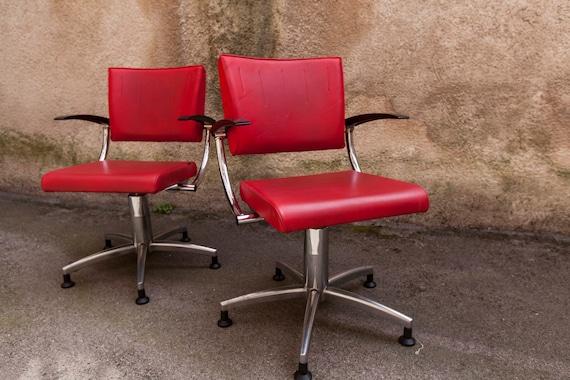 Paire de fauteuils rouge de salon de coiffure 80\'s Olymp