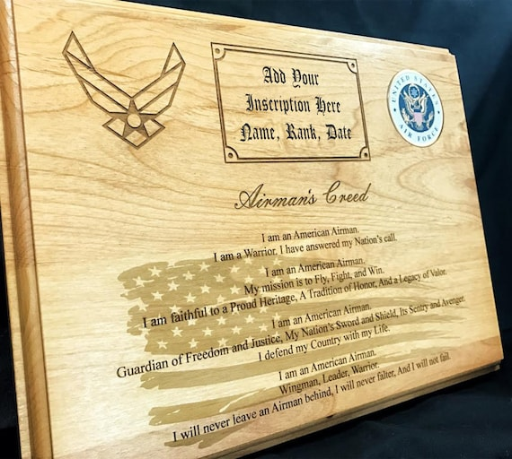 Personalized air force airmans creed plaque etsy thecheapjerseys Images