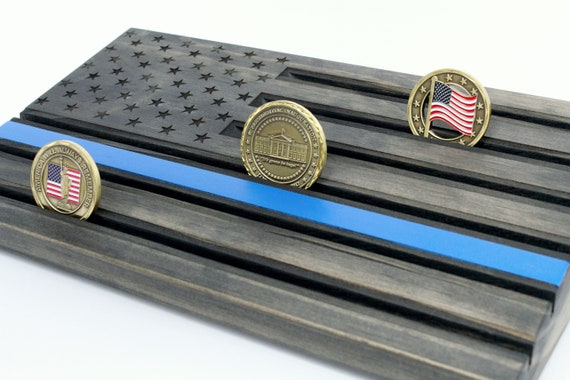 Thin Blue Line Challenge Coin Display - Personalized