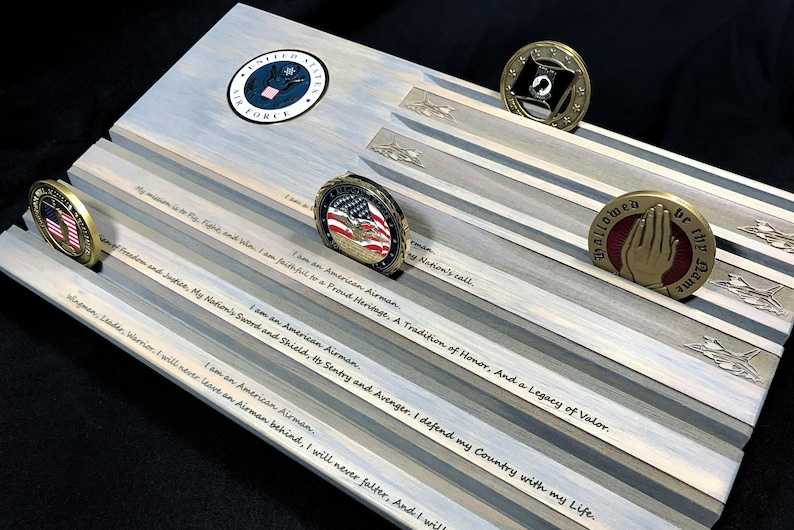 Gray Air Force Challenge Coin Display - Coin Holder - Airman's Creed Coin  Rack - customizable - personalized