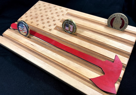 Thin Red Line - American Flag Challenge Coin Display - Firefighter Coin  Holder - Axe Flag - Personalized