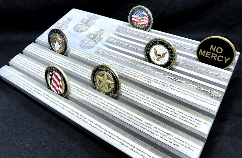 Gray Navy Chief's Creed Challenge Coin Display - Military Coin Holder -  Chief Petty Officer - CPO - Personalized - Customizable