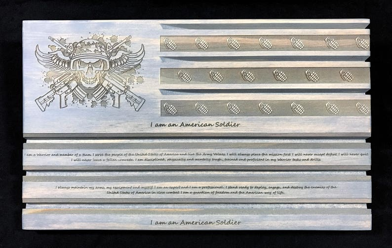 Gray Solider's Creed Challenge Coin Rack - Challenge Coin Display - Coin  Holder - Personalized - Customizable