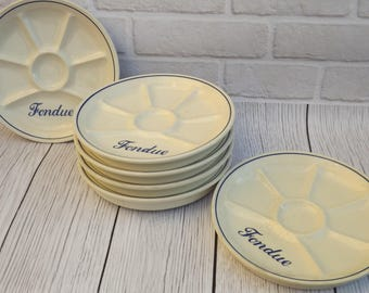 Nice vintage set of 6 plates for fondue set with a double bottom