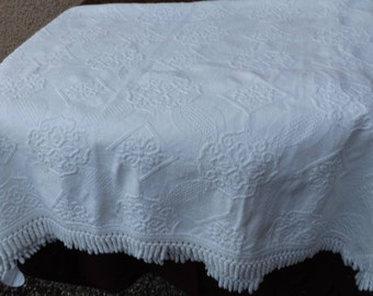Vintage French bedspread cotton white color