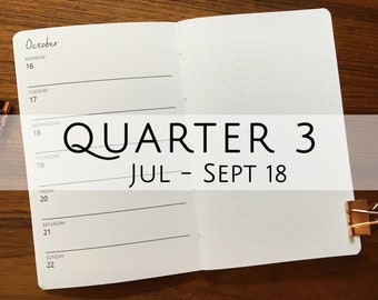 POCKET Traveler's Notebook, Printed Week on One Page with Dot Grid (WO1P) Dated Q3 July - September 2018 #poc-25
