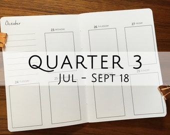 A6 Traveler's Notebook, Printed Week on Two Pages Vertical (WO2P) Dated  Q3 July - September 2018 #a627