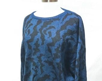 80s Le Tigre Black Blue Pullover Cosby Sweater