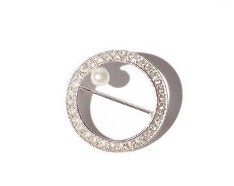 Vintage Silver Rhinestone Faux Pearl Brooch / Pin