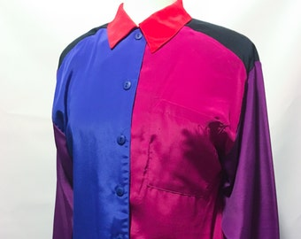 80s Blue Purple Red Color Block Long Sleeve Blouse