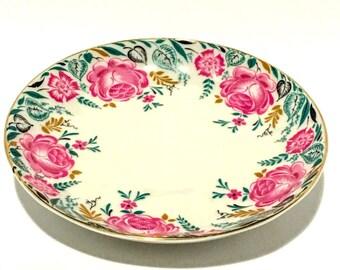 Russian Pink Floral Decorative Ceramic Plate